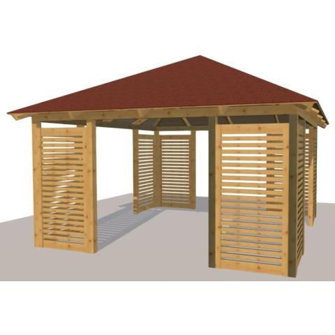 Altana drewniana Porto, 4 kątna duża+Bergamo90cm