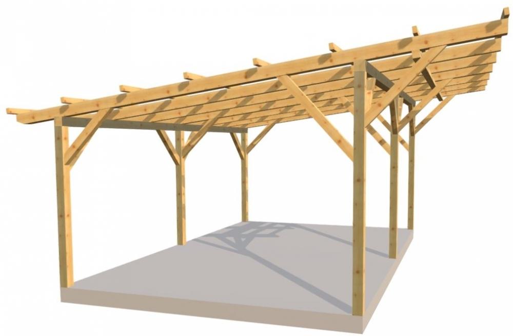 Wiata 2-stanowiskowa 1spadowa 600x400 cm
