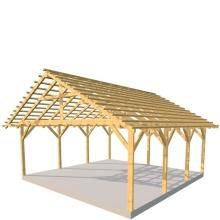 Wiata 2-stanowiskowa 2spadowa 600x600 cm - 600x600 cm, Świerk, Łaty dachowe