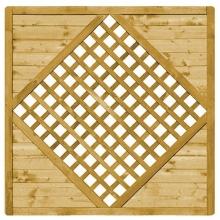 Płot drewniany Malaga prosty z kratką Karo