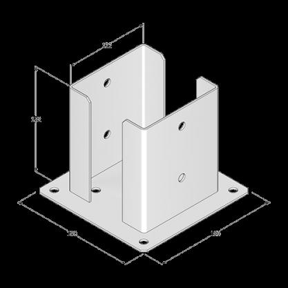 Podstawa słupa do przykręcenia - 122x150x2,5