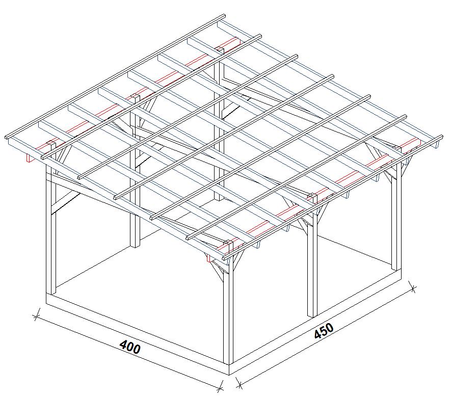 Zadaszenia wolnostojące szerokość 400 cm - 450 cm
